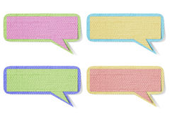 Color bubble talk tag mulberry paper on white back Royalty Free Stock Images