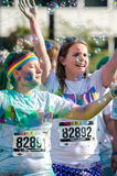 Color and bubbles at the color run Royalty Free Stock Images