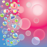 Color bubbles and hearts Royalty Free Stock Images