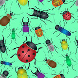 Color bugs and beetles green seamless pattern Royalty Free Stock Image