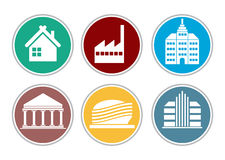Color building icon set Stock Photos