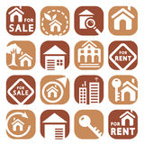 Color building icons Stock Photos