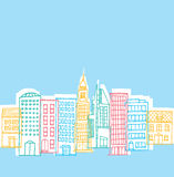 Color buildings in playful city Royalty Free Stock Photography