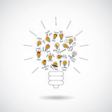 Color bulb creative symbol of ideas object isolate. Royalty Free Stock Photos