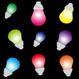 Color bulbs on black background. Vector illustration Stock Photography