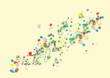 Color Burst. A burst of colorfull objects moving in a flow royalty free illustration