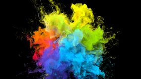 Color Burst iridescent multicolored rainbow powder explosion fluid ink particles royalty free illustration