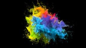 Color Burst iridescent multicolored rainbow powder explosion fluid ink particles