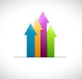 Color business arrow graph inside a pocket. i Royalty Free Stock Photography