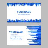 Color business card template design set - vector corporation graphic with vertical lines in blue tones. On white background Stock Photos