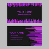 Color business card template design - vector corporation graphic with vertical lines in purple tones on black background. Color business card template design set royalty free illustration