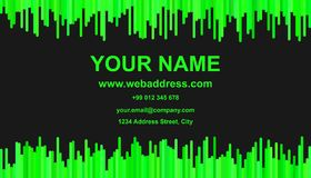 Color business card template design - vector identity illustration with vertical stripes in green tones. On black background Stock Photo