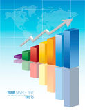 Color Business Chart. 3d financial graph stat business background Royalty Free Stock Images