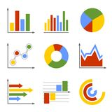 Color Business Graph and Chart Set Stock Photos