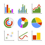 Color Business Graph and Chart Set Stock Image