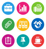 Color business icons Stock Photos