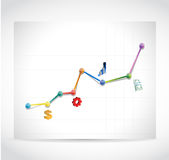 Color business icons graph illustration design Stock Photography