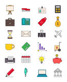 Color business icons set. Set of 24 color business icons Royalty Free Stock Photography
