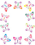 Color butterflies frame Stock Photos