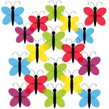 Color butterflies on white background Stock Image