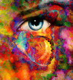 Color butterflies and woman eye, mixed medium, abstract color background Royalty Free Stock Images