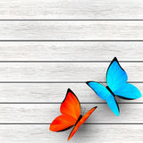 Color butterflies on wood Stock Images