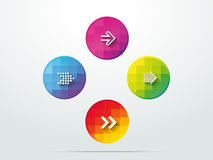 Color button arrows info graphic web icon Royalty Free Stock Image