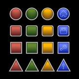 Color button set. Web plastic button set on black background Stock Images