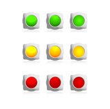 Color buttons. Website buttons, web interface, at traffic lights Royalty Free Stock Photos
