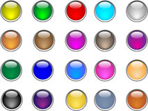 Color buttons. Glass vector illustration Stock Photos