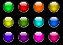 Color buttons. Color web buttons on black background Stock Images