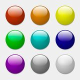 Color buttons. Round realistic buttons for the site. Elements for decoration glossy buttons. Vector illustration Royalty Free Stock Image