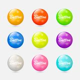 Color buttons. Round realistic buttons for the site. Elements for decoration glossy buttons. Vector illustration Stock Image