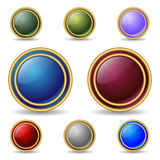 Color buttons with double gold rings Stock Photos