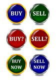 Color buttons with inscriptions, bay, sell, now Stock Photo