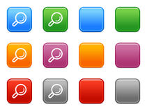 Color buttons with search icon. Vector web icons, color square buttons series Stock Photo