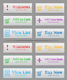 6 color buttons for shopping page royalty free illustration