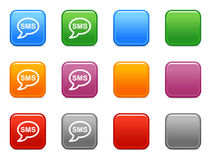 Color buttons with sms icon. Vector web icons, color square buttons series Stock Image