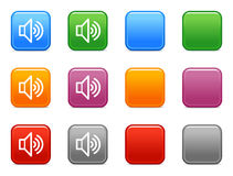 Color buttons with sound icon. Vector web icons, color square buttons series Stock Photos