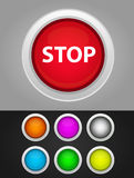 7 color buttons with white border and 3d look. Colors are red, orange, yellow, green, blue, gray and violet or purple Vector Illustration