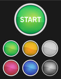 6 color buttons with white border and 3d look. Colors are red, orange, yellow, green, blue, gray and violet or purple. metal look ring Royalty Free Stock Photo