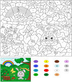 Color By Number Educational Game For Kids. Forest Glade With A H Stock Photos
