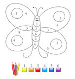 Color By Number Game: Butterfly Stock Images