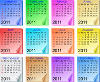 Color calendar 2011 Stock Photography