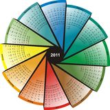 Color_calendar_for_2011. 2011 Calendar focus in a circle. Design, change of seasons, color circle  in vector illustration Stock Image