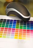 Color calibrator. With color samples Stock Photo