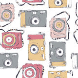 Color cameras. Seamless pattern with cameras Royalty Free Stock Photography
