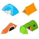 Color Camping Tent Set. Vector Royalty Free Stock Photography
