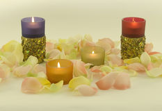 Color candles with aromatic rose leave. Color candles  with aromatic rose leave in yellow light Stock Photo