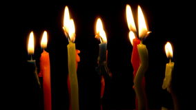 Color candles burning, timelapse. stock video